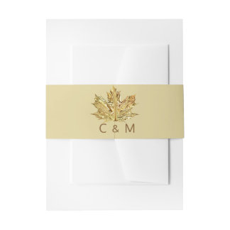 Personalized Monogram Gold Leaf Wedding Invitation Belly Band