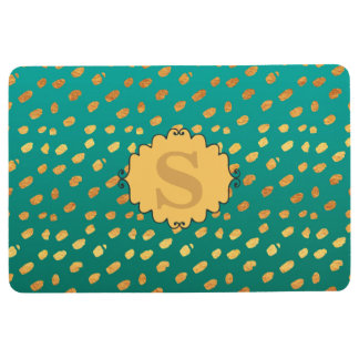 Personalized Monogram Green and Gold Confetti Floor Mat