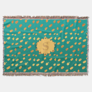 Personalized Monogram Green and Gold Confetti Throw Blanket