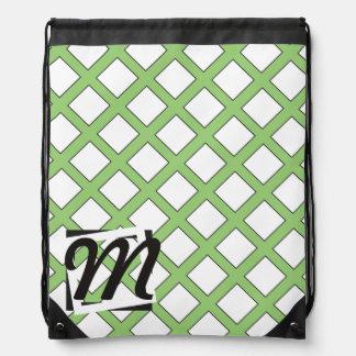 Personalized Monogram Green Pattern Drawstring Bag