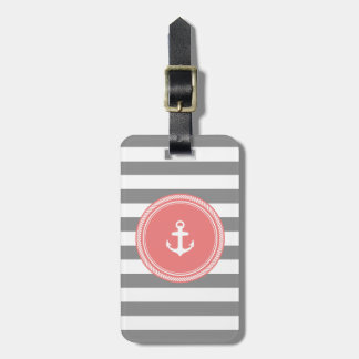 Personalized Monogram Grey and Coral Nautical Luggage Tag