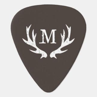 Personalized monogram guitar pick with deer antler
