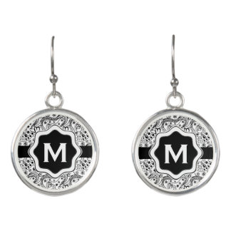 Personalized Monogram Hearts Love Doodle Pattern Earrings
