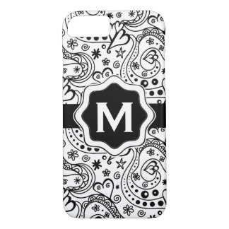 Personalized Monogram Hearts Love Doodle Pattern iPhone 8/7 Case