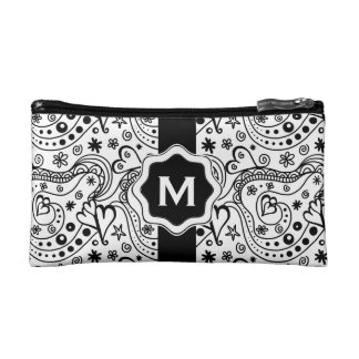 Personalized Monogram Hearts Love Doodle Pattern Makeup Bags