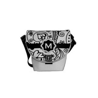 Personalized Monogram Hearts Love Doodle Pattern Messenger Bag