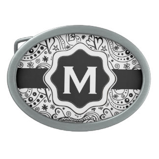 Personalized Monogram Hearts Love Doodle Pattern Oval Belt Buckles