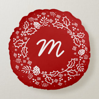Personalized Monogram Holiday Wreath Pillow