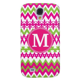 Personalized Monogram Hot Pink Tribal Chevron Galaxy S4 Case