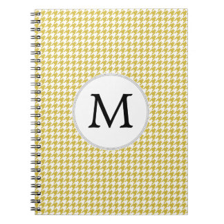 Personalized Monogram Houndstooth pattern Yellow Spiral Note Book