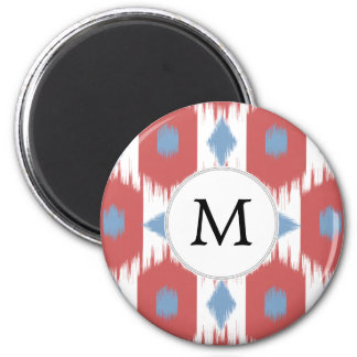 personalized monogram Ikat red and blue 6 Cm Round Magnet