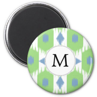personalized monogram in Ikat  green and blue 6 Cm Round Magnet
