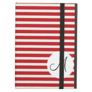 Personalized Monogram Initial Red White Striped iPad Air Case