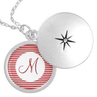 Personalized Monogram Initial Red White Striped Locket Necklace