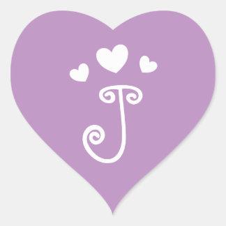 Personalized Monogram J Purple Love Heart Sticker