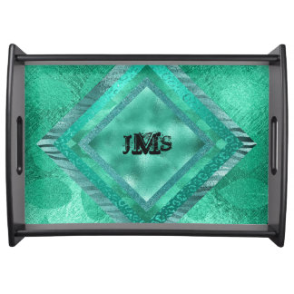 Personalized Monogram Jungle Glitter Serving Trays