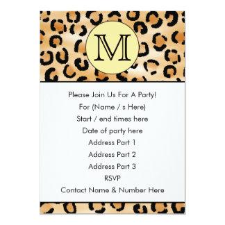 Personalized Monogram Leopard Print Pattern. 13 Cm X 18 Cm Invitation Card