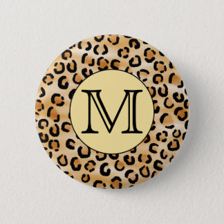Personalized Monogram Leopard Print Pattern. 6 Cm Round Badge