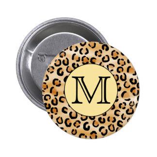 Personalized Monogram Leopard Print Pattern Pins