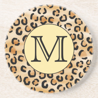 Personalized Monogram Leopard Print Pattern. Beverage Coaster