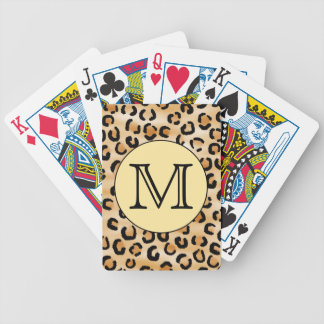 Personalized Monogram Leopard Print Pattern. Bicycle Poker Cards