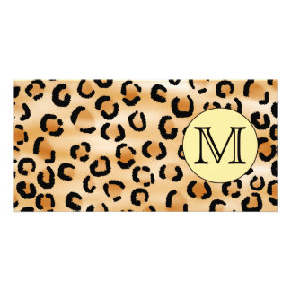 Personalized Monogram Leopard Print Pattern. Card