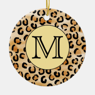 Personalized Monogram Leopard Print Pattern. Christmas Ornament