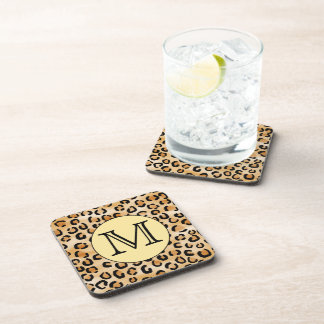Personalized Monogram Leopard Print Pattern. Coaster