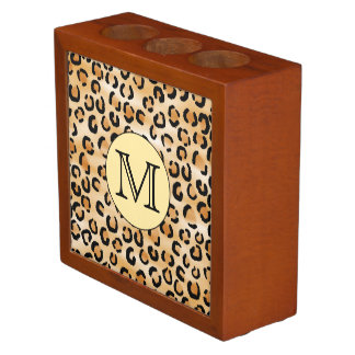Personalized Monogram Leopard Print Pattern. Desk Organiser