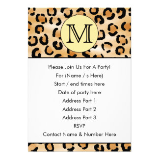 Personalized Monogram Leopard Print Pattern Cards