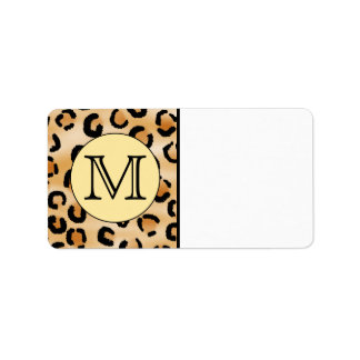 Personalized Monogram Leopard Print Pattern. Label