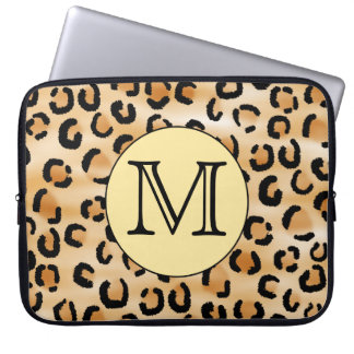 Personalized Monogram Leopard Print Pattern. Laptop Sleeve