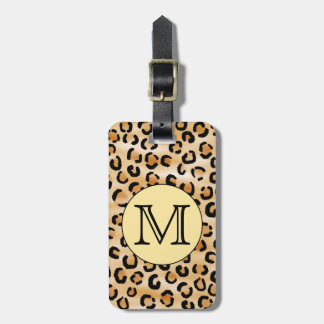 Personalized Monogram Leopard Print Pattern. Luggage Tag