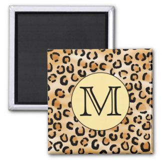 Personalized Monogram Leopard Print Pattern. Magnet