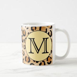 Personalized Monogram Leopard Print Pattern Coffee Mugs