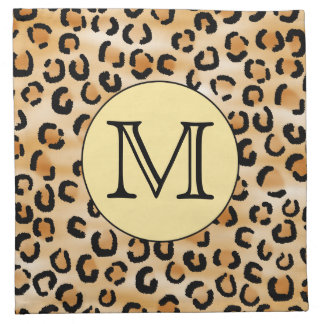 Personalized Monogram Leopard Print Pattern. Napkin