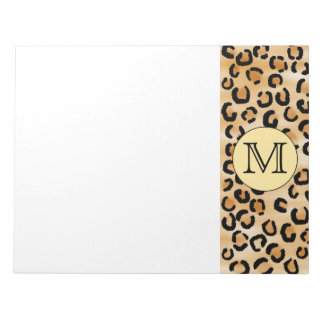 Personalized Monogram Leopard Print Pattern. Notepad