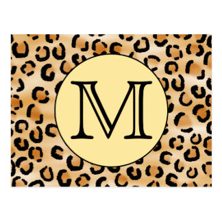 Personalized Monogram Leopard Print Pattern. Postcard