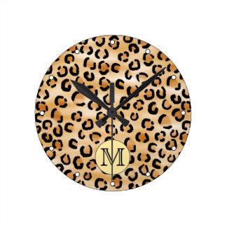 Personalized Monogram Leopard Print Pattern. Round Clock