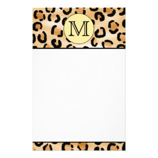 Personalized Monogram Leopard Print Pattern. Stationery