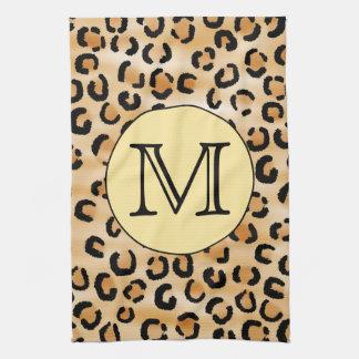 Personalized Monogram Leopard Print Pattern. Tea Towel