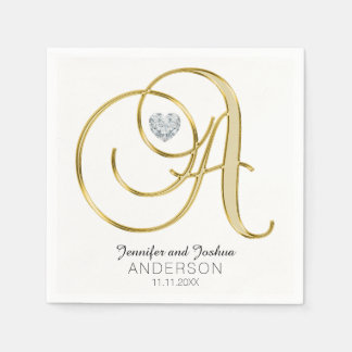 Personalized Monogram Letter 'A Gold White Wedding Disposable Serviette