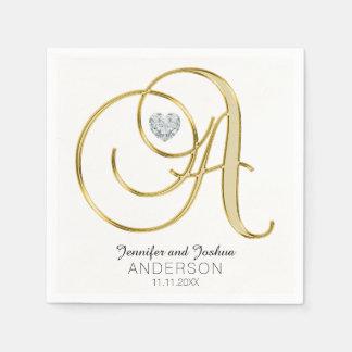 Personalized Monogram Letter 'A Gold White Wedding Paper Napkin