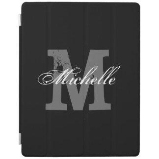 Personalized monogram magnetic iPad cover | Black