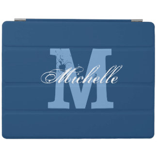 Personalized monogram magnetic iPad cover | Blue
