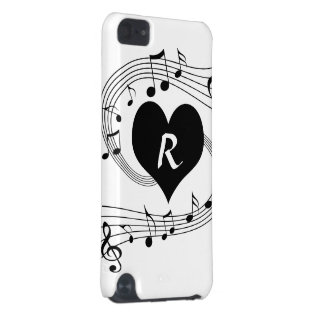 Personalized Monogram Musical notes heart iPod Touch 5G Case