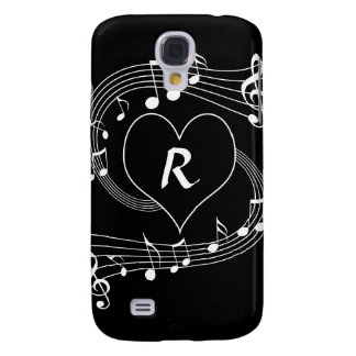 Personalized Monogram Musical notes heart Galaxy S4 Case