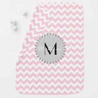 Personalized Monogram Name Baby Girl Chevron Pink Baby Blanket