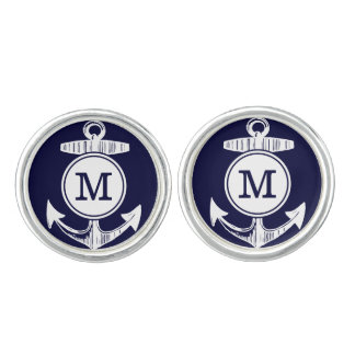 Personalized Monogram Nautical Navy Anchor Pattern Cufflinks