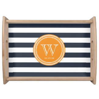 Personalized Monogram Navy and Orange Striped Serving Tray